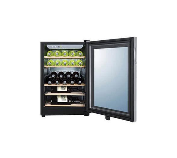 מקרר יין האייר תכולה ל- 25 בקבוקים בנפח 97 ליטר מדחס שקט ואיכותי עם דלת שקופה ותאורה פנימית דגם JC-87   , , large image number null